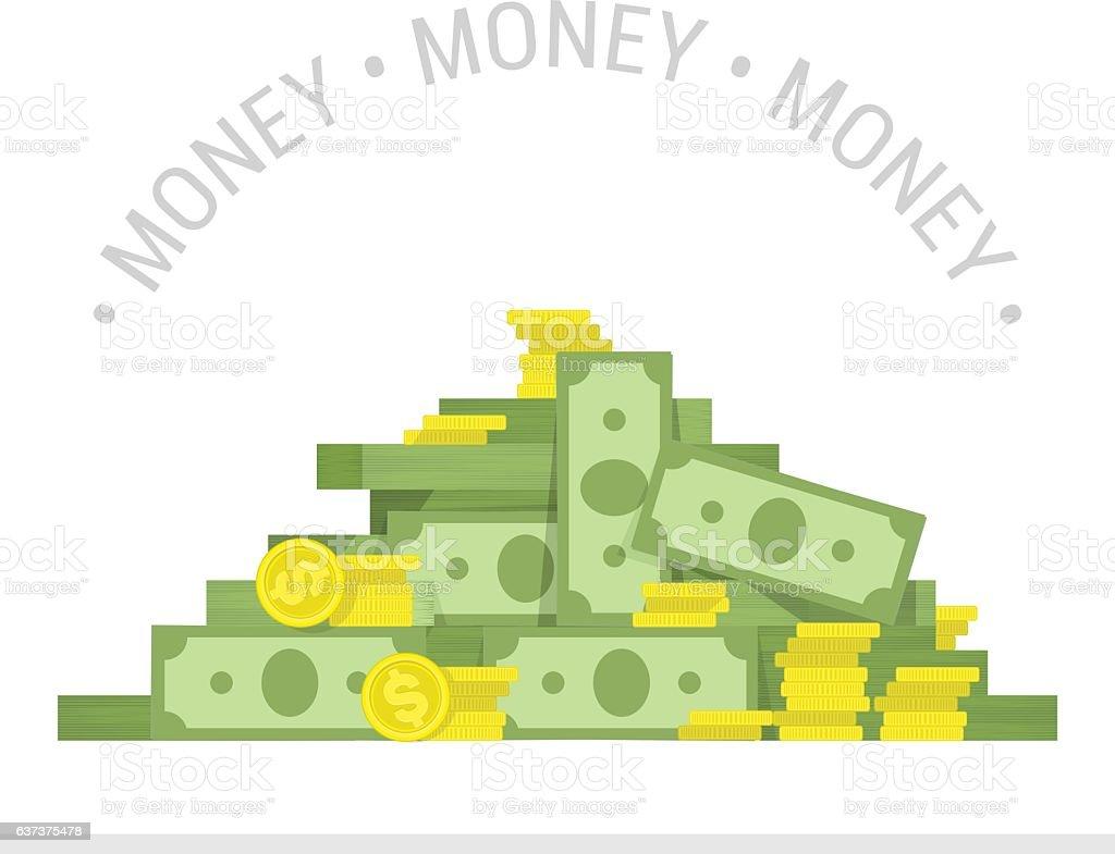 Big pile of money vector illustration. vector art illustration