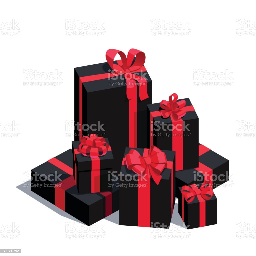 Big pile of wrapped black gift boxes vector art illustration