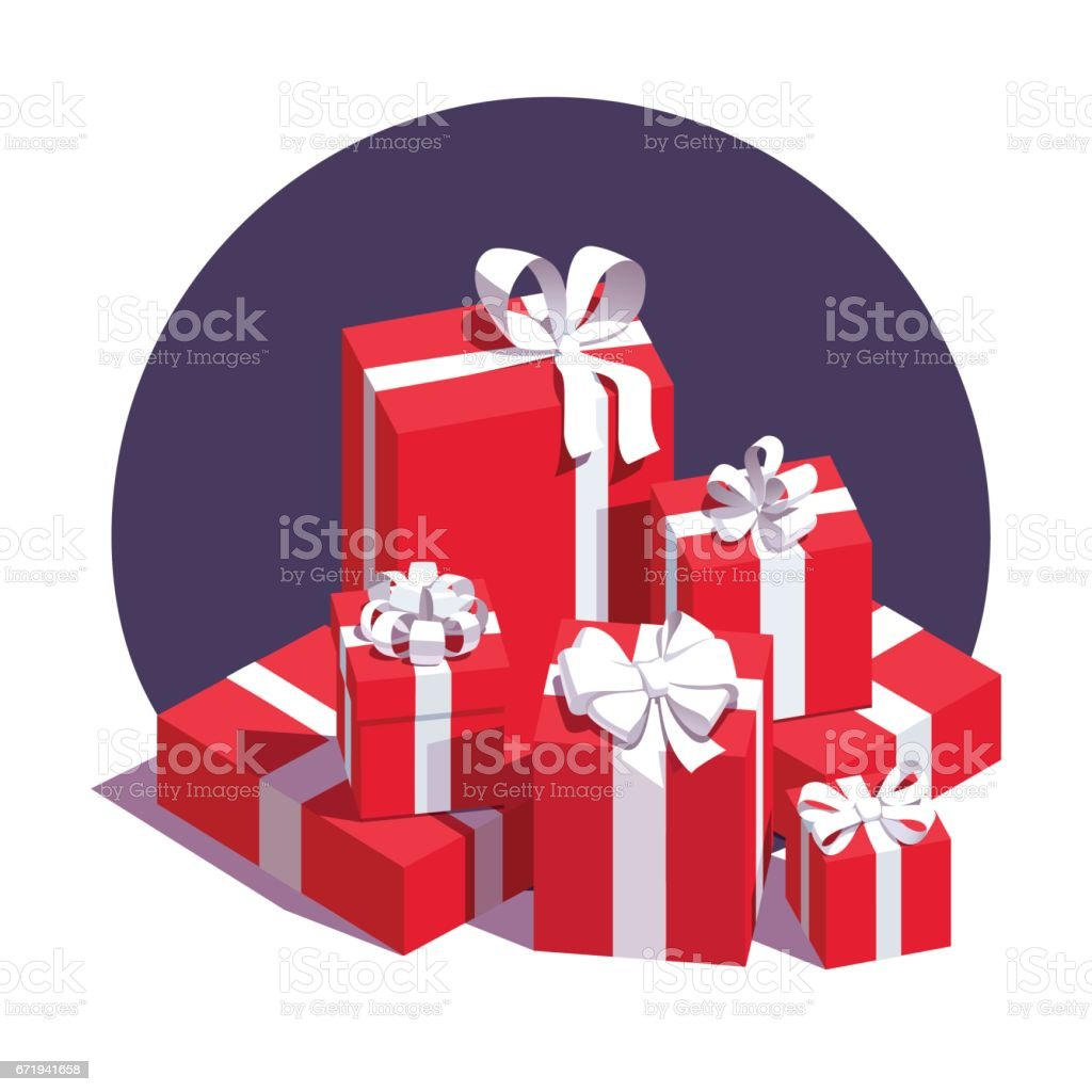 Big pile of wrapped red gift boxes vector art illustration