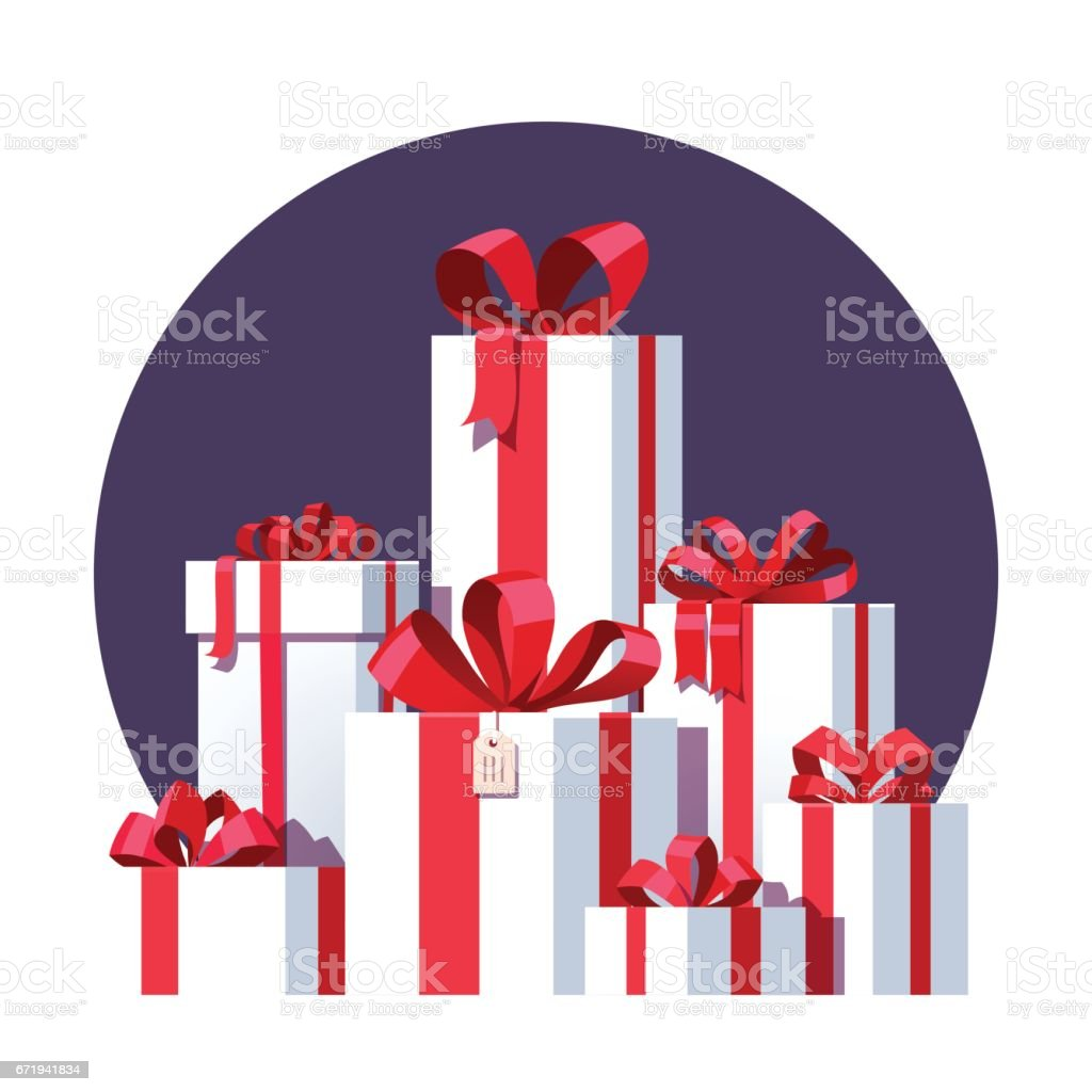 Big pile of wrapped white gift boxes vector art illustration
