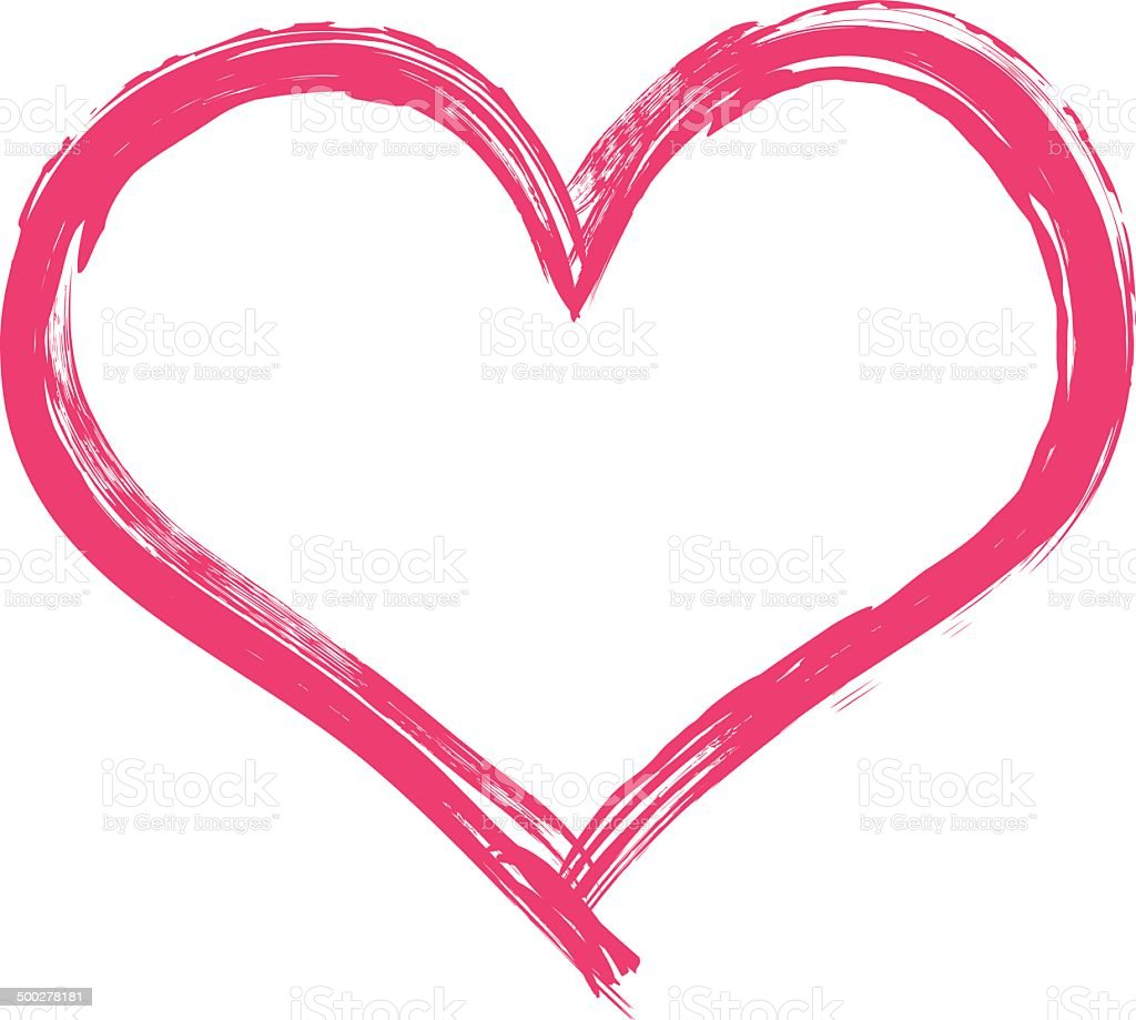 Big pink heart illustration vector art illustration