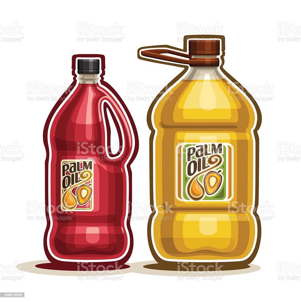 Big plastic Bottles with Palm Oil vector art illustration