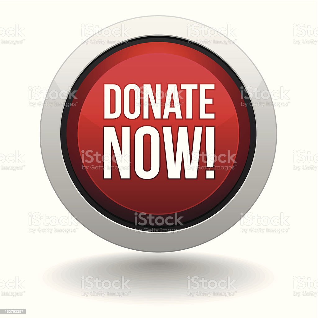 Big red donate now button royalty-free stock vector art