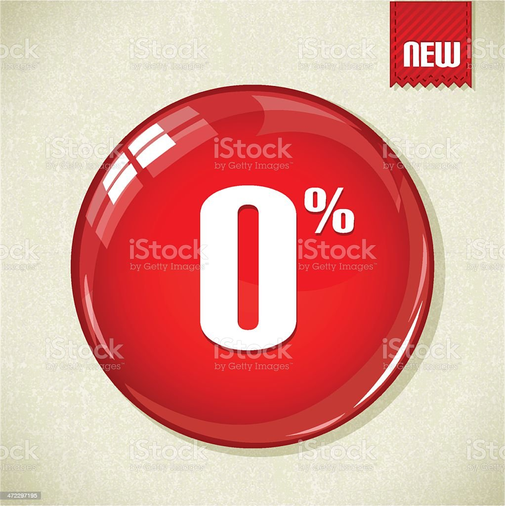 Big red glossy button with 0% royalty-free stock vector art