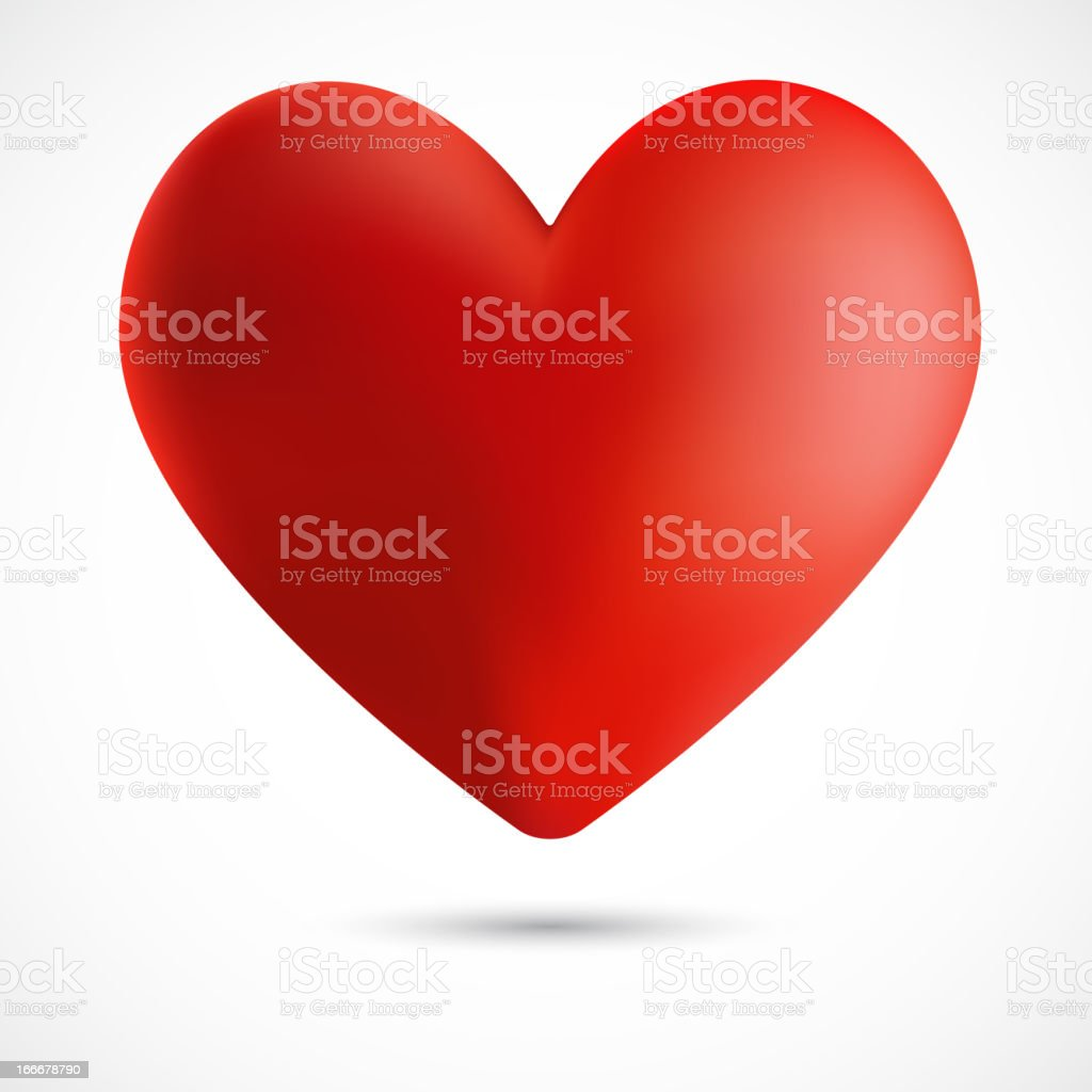 Big red heart isolated on white background, vector illustration royalty-free stock vector art