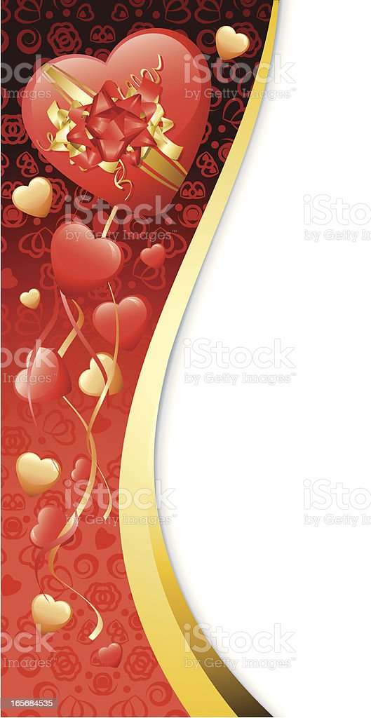 Big red Hearts Gold swirl Valentines Side banner Background royalty-free stock vector art