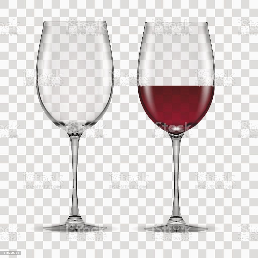big reds wine glass empty and none vector art illustration
