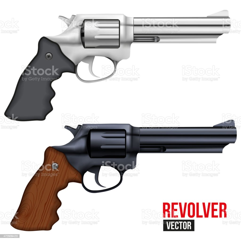 Big Revolver. Silver bright metal vector art illustration