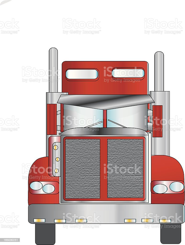 Big rig front view - vector royalty-free stock vector art