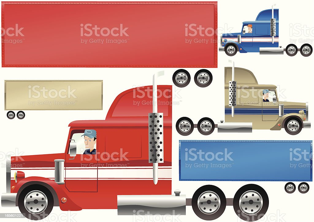 Big Rig lorry and trailer royalty-free stock vector art