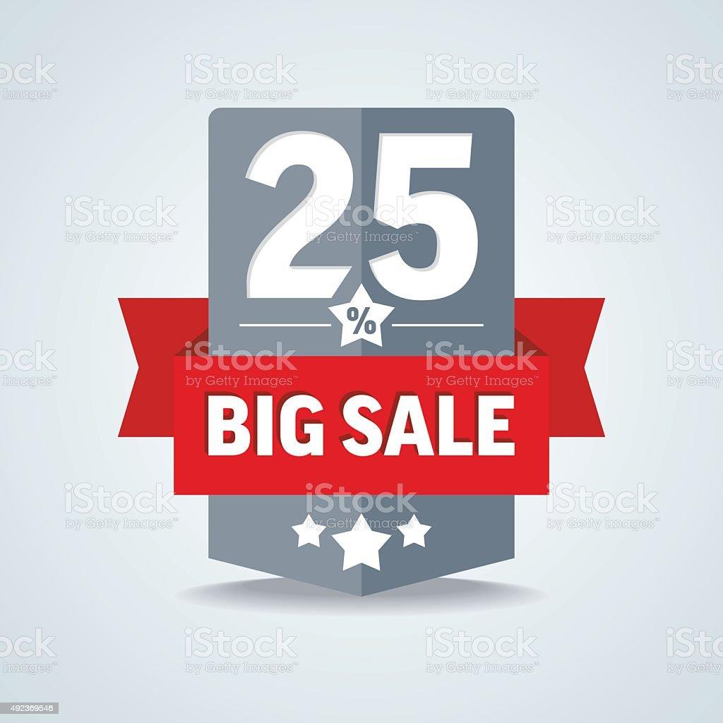 Big sale 25 percent badge with red ribbon. Vector illustration. vector art illustration