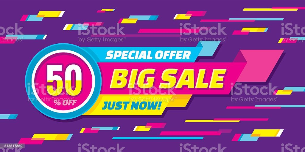 Big sale abstract vector origami horizontal banner vector art illustration