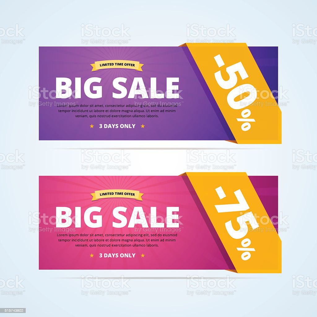 Big sale banners with transparent ribbon. vector art illustration