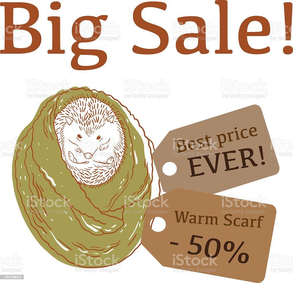 Big Sale illustration with cute hedgehog, trendy scarf, and labels vector art illustration