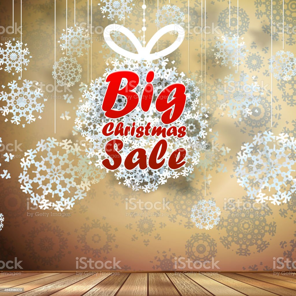 Big Sale interior decorated snowflakes. EPS 10 royalty-free stock vector art