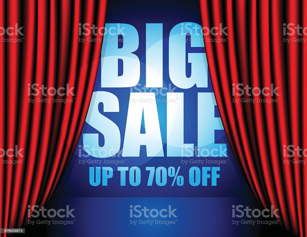 Big Sale promotion info on stage with red curtain vector art illustration