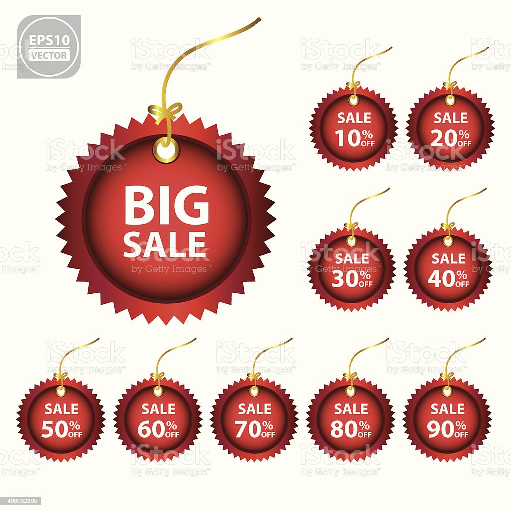 Big Sale red tags. royalty-free stock vector art