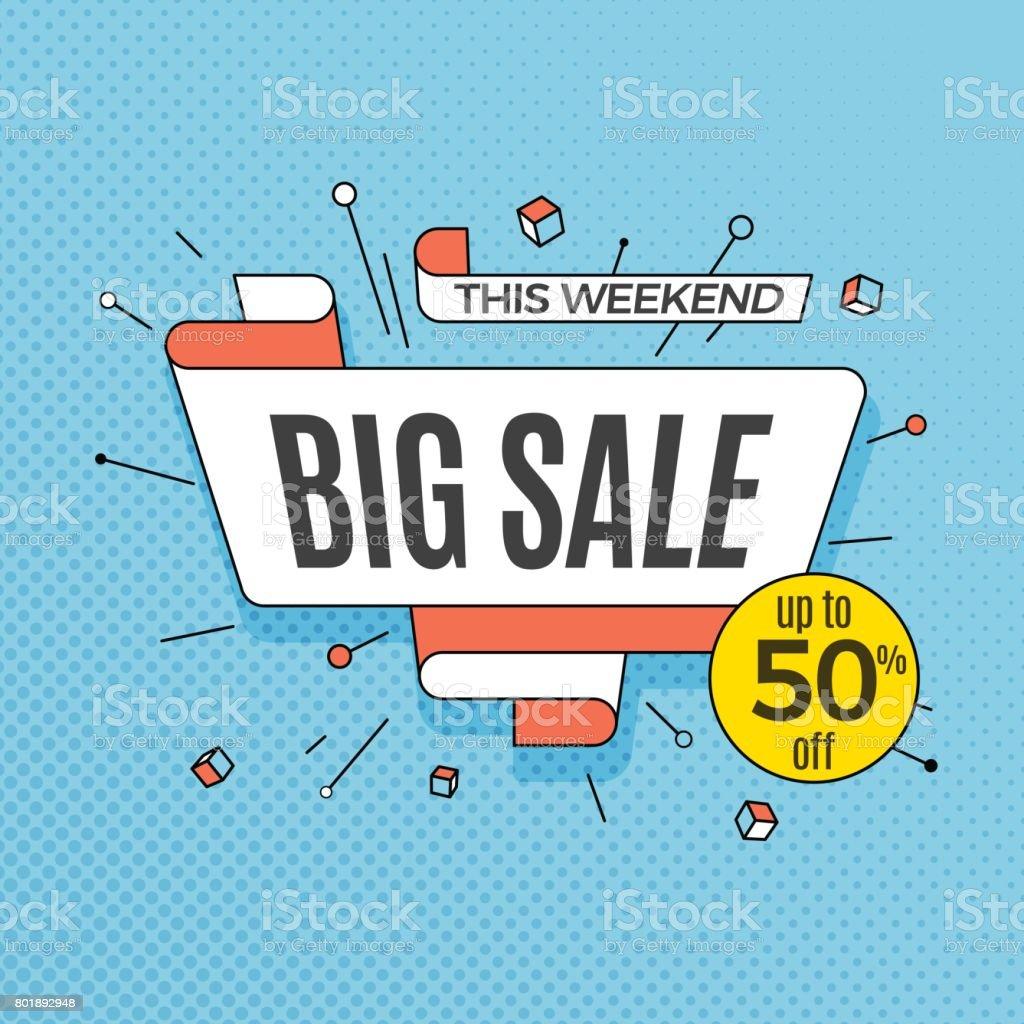 Big sale. Retro design element in pop art style on halftone colorful background. Vintage motivation ribbon banner vector art illustration