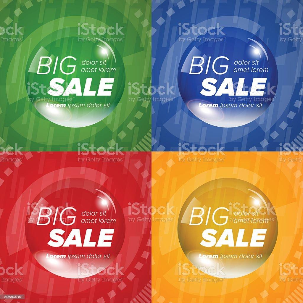 Big sale square stickers in a circle bubble vector art illustration