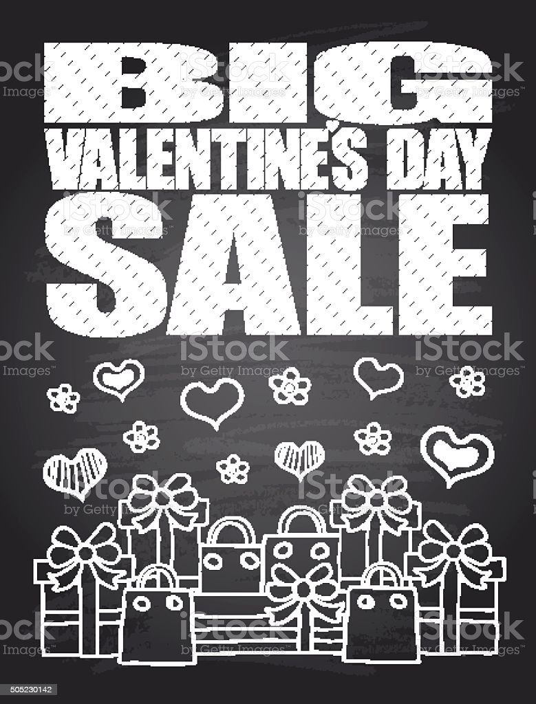 Big Sale Valentine's Day chalkboard card vector art illustration
