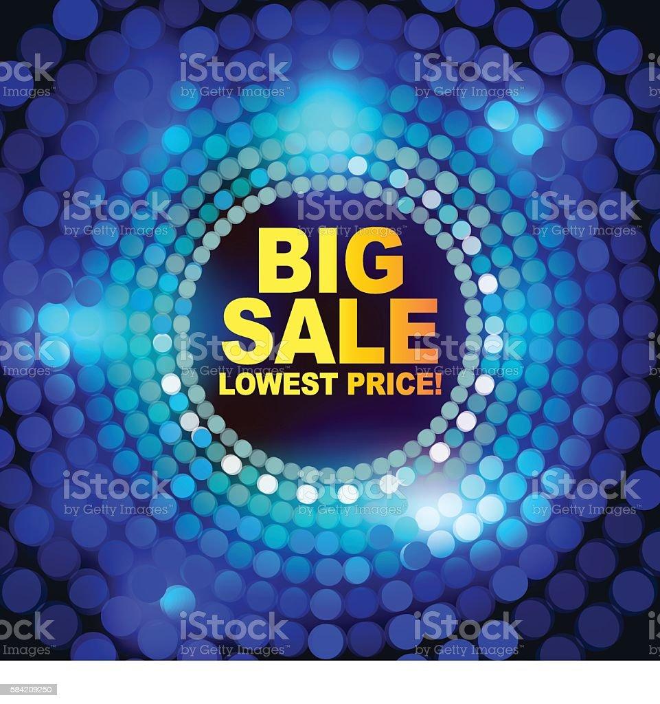 Big Sale with blue dot design background vector art illustration