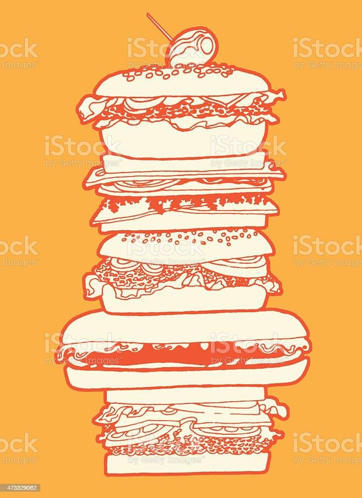 Big Sandwich vector art illustration