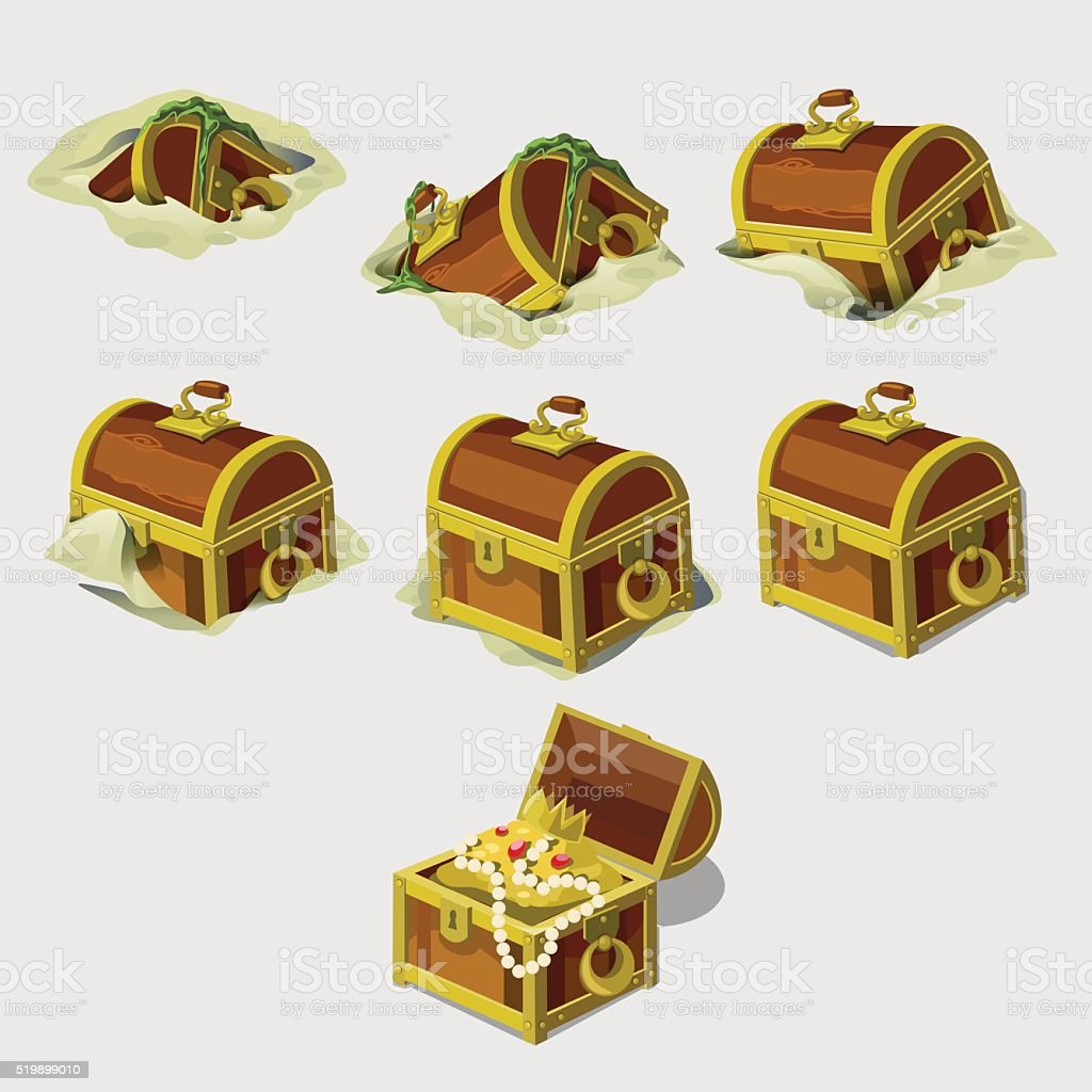Big set chest with treasures, seven vector icons vector art illustration