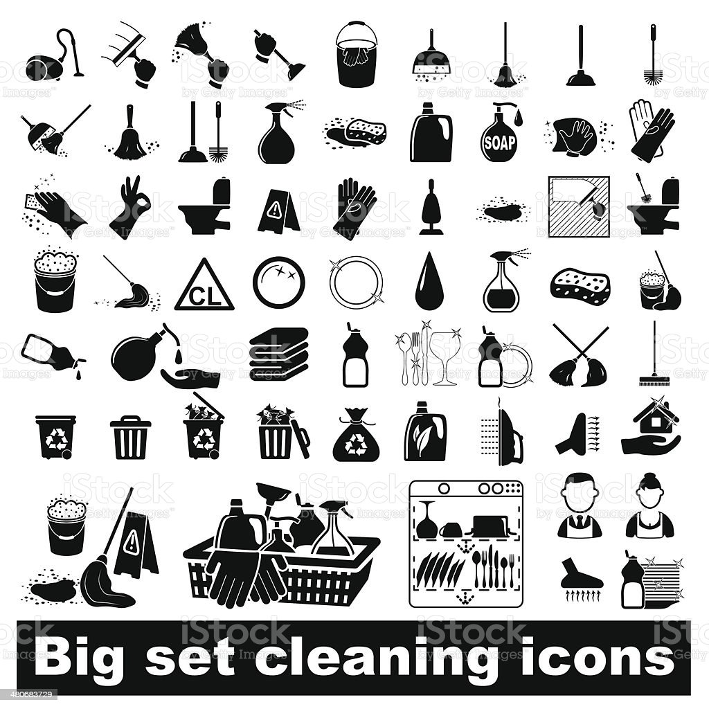 Big set Cleaning Icons vector art illustration