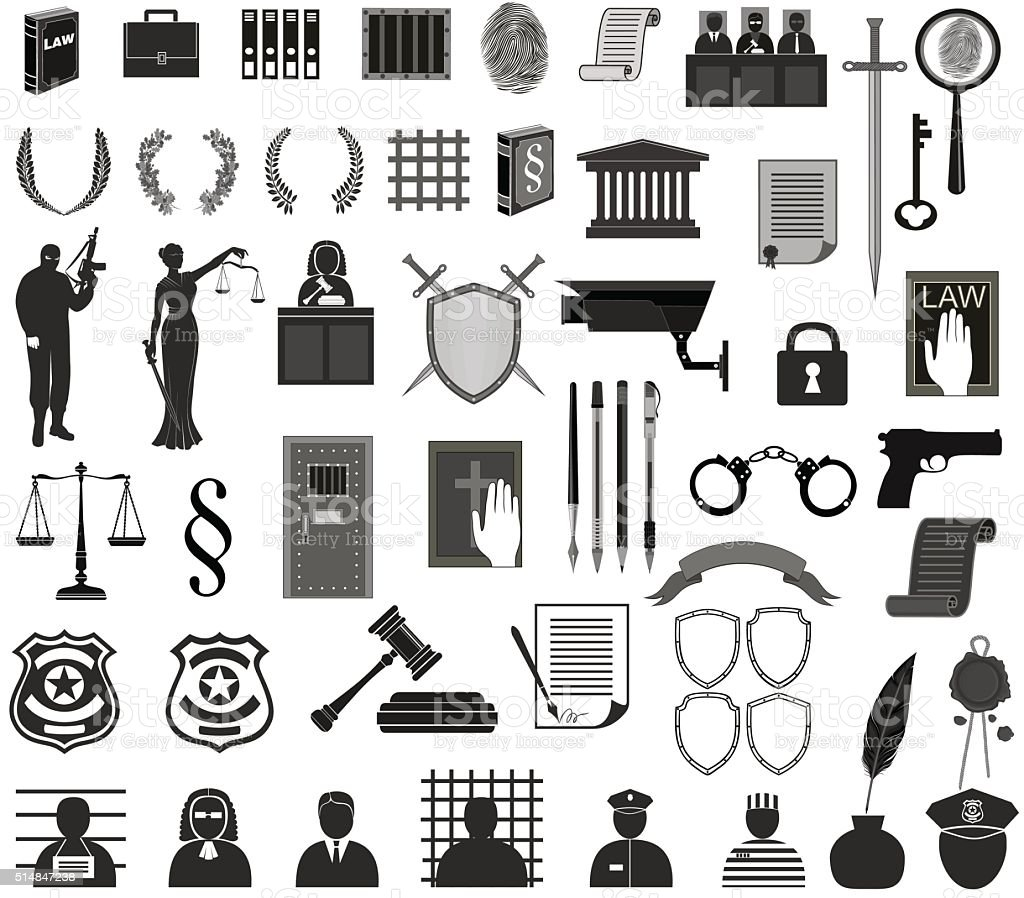big set law  court.different icons clipart.Themis gavel  people vector art illustration