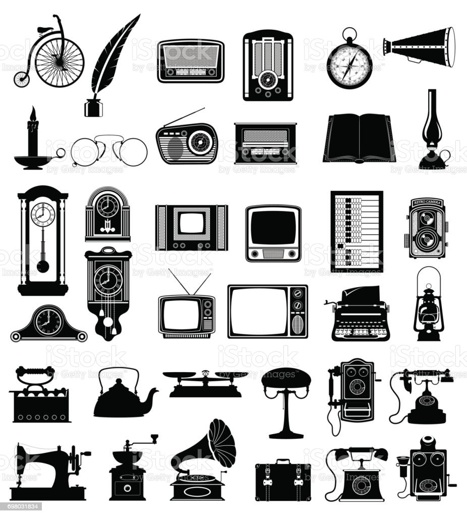 big set objects retro old vintage icons vector illustration vector art illustration