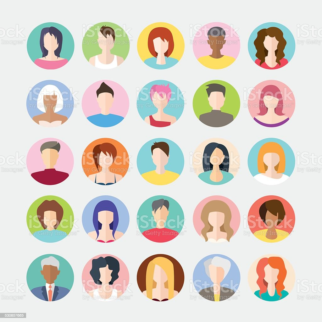 Big set of avatars profile pictures flat icons vector art illustration
