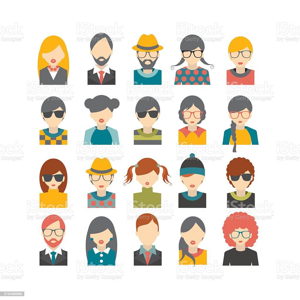 Big set of avatars profile pictures flat icons. Vector illustration. vector art illustration