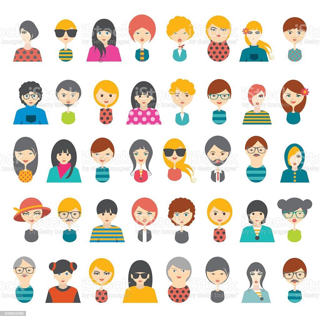Big set of avatars profile pictures flat icons. Vector illustration. vector art illustration