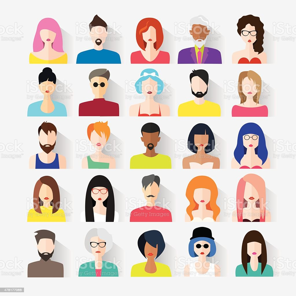 Big set of avatars vector art illustration