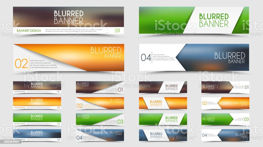 Big set of blurred banners vector art illustration