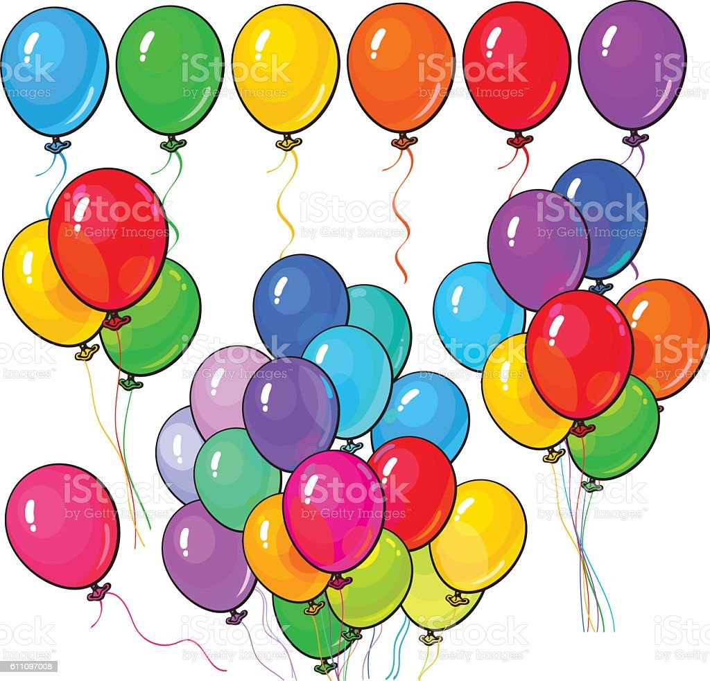 Big set of bright and colorful balloons on white background vector art illustration