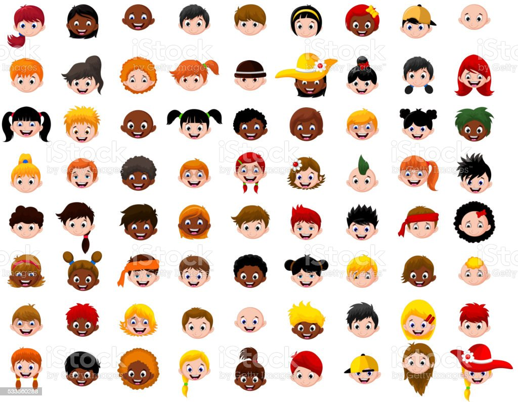 big Set of cartoon children head vector art illustration