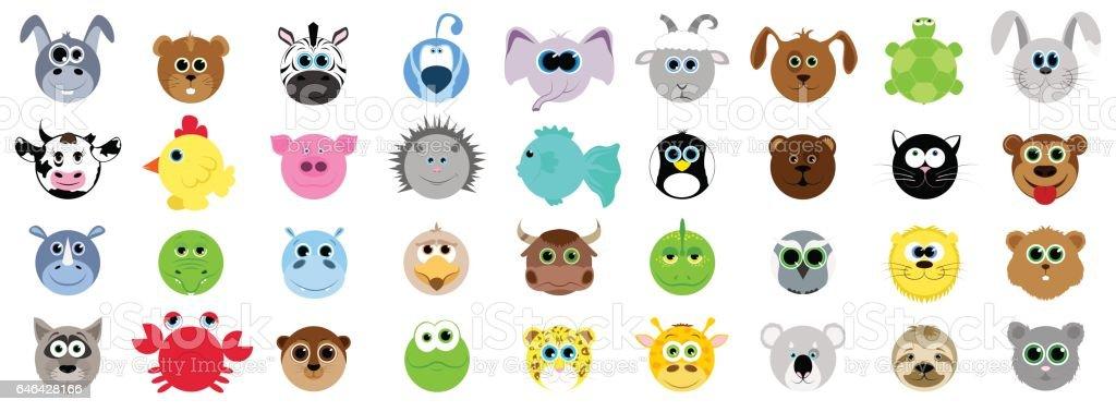 big set of different animals in cartoon style domestic animals wild