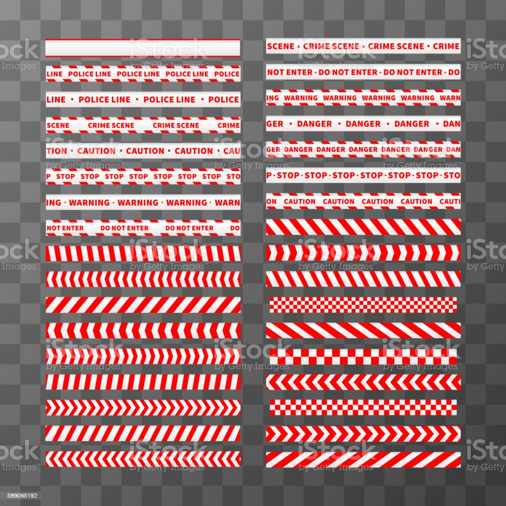 Big set of different seamless red and white caution tapes vector art illustration