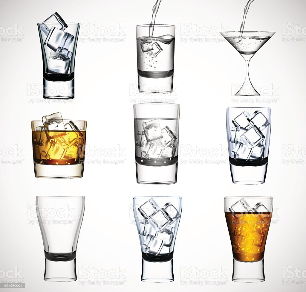 Big set of drinking glass with ice water and alcohol vector art illustration