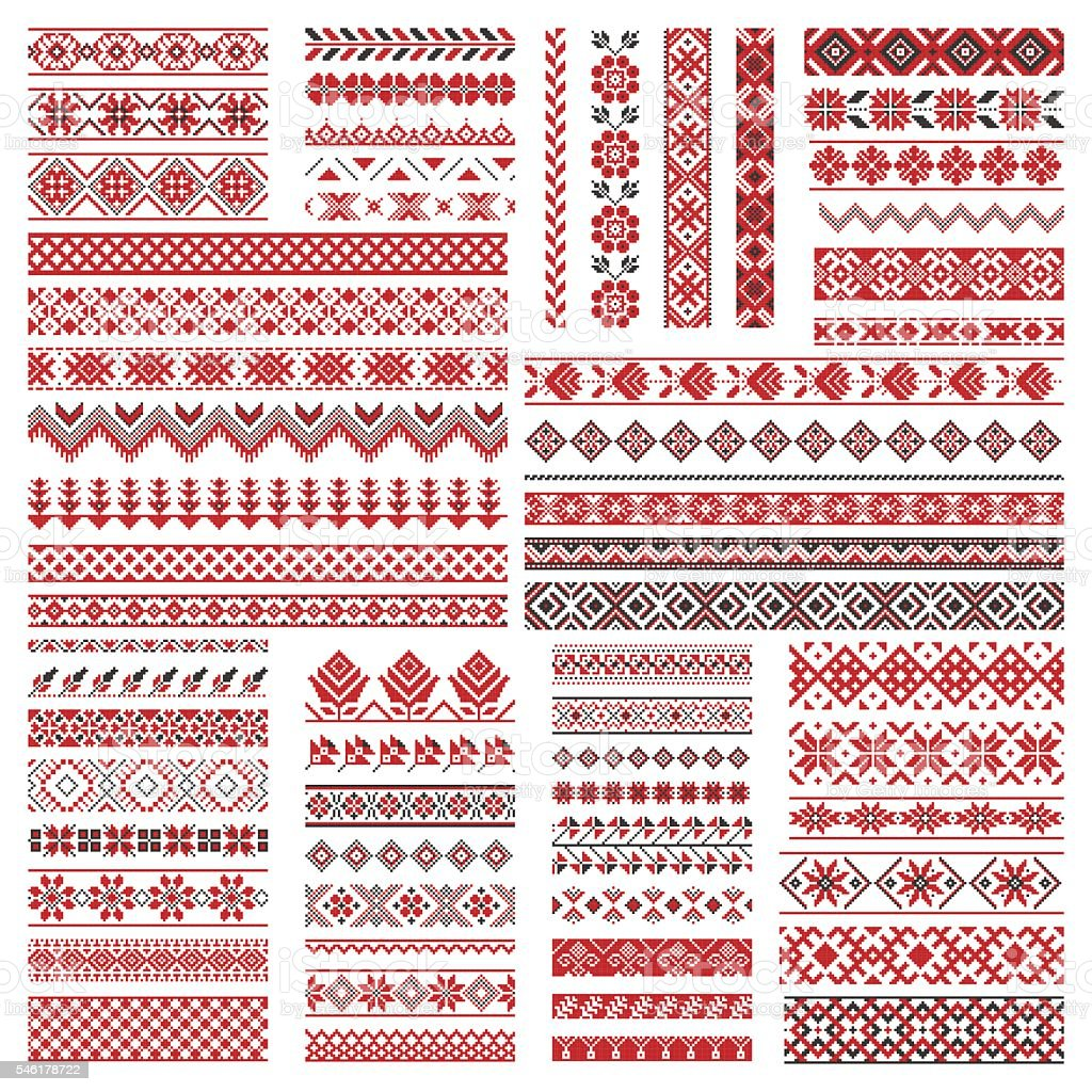 Big set of embroidery patterns vector art illustration