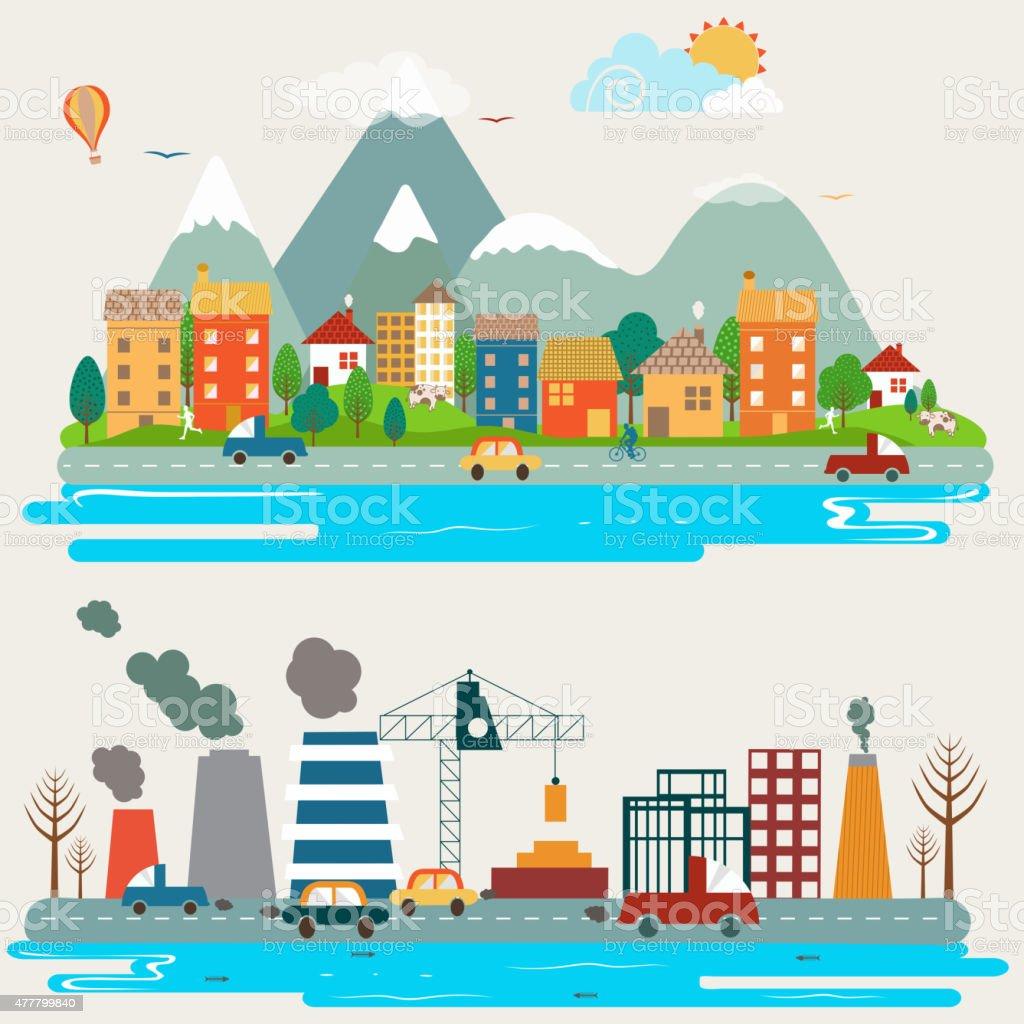 Big set of environmental infographic elements. vector art illustration