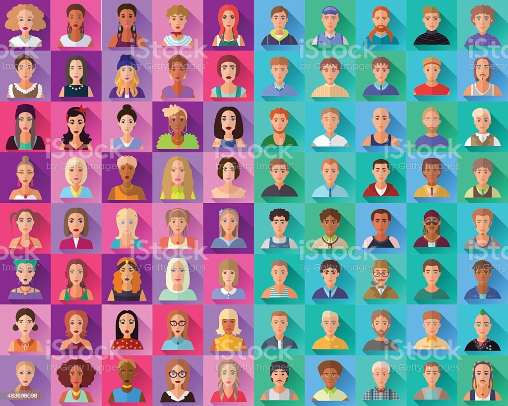 Big set of flat icons of female and male characters vector art illustration