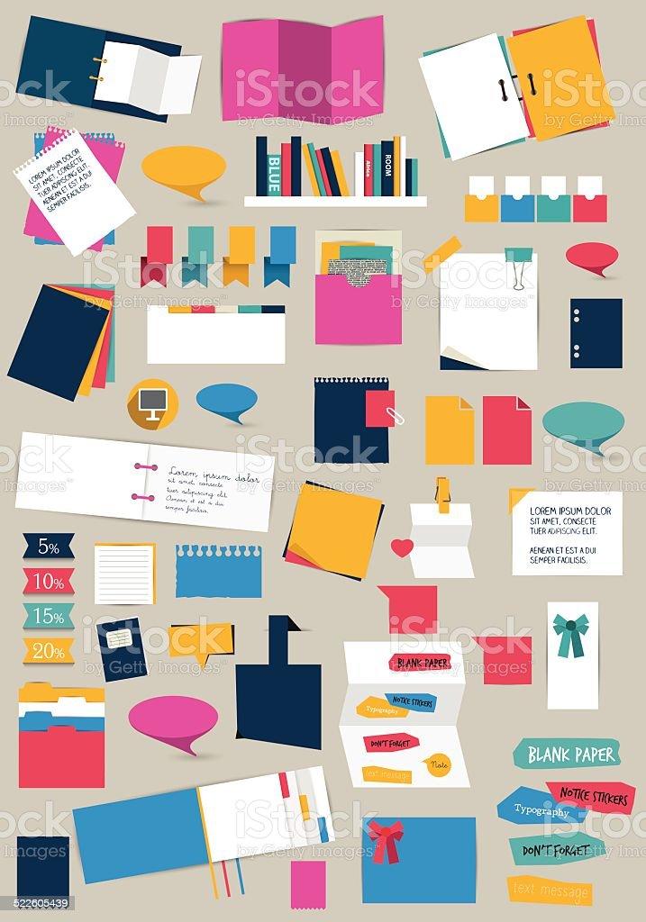 Big set of flat reminder stickers. Infographic set. vector art illustration