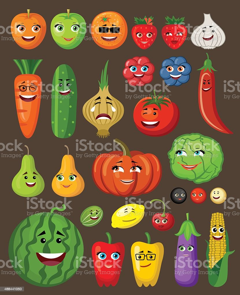 Big set of fruit and vegetables with persons and characters vector art illustration
