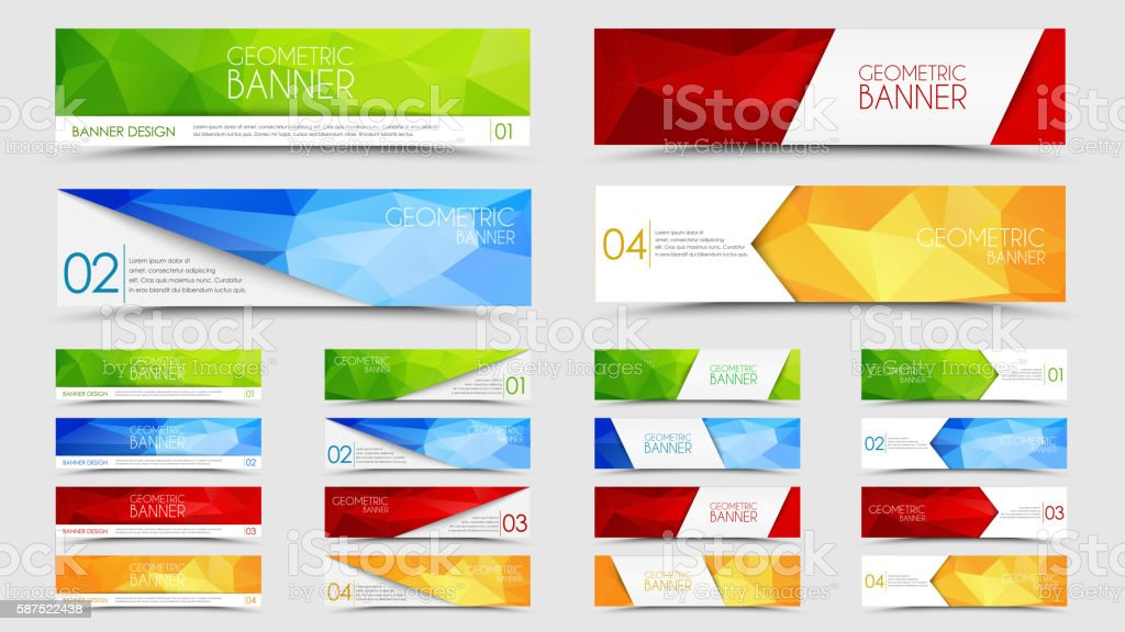Big set of geometric polygonal banners vector art illustration
