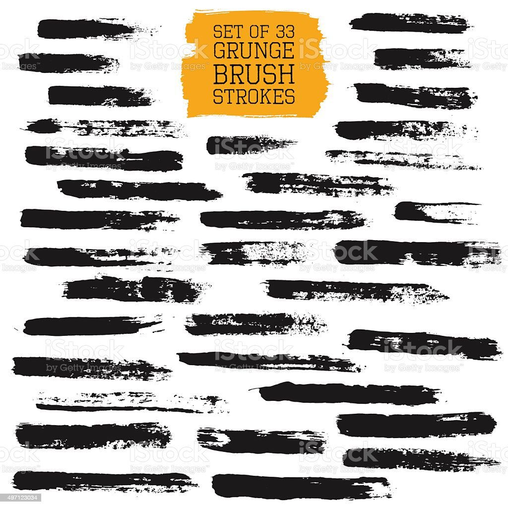 Big set of grunge brush strokes vector art illustration