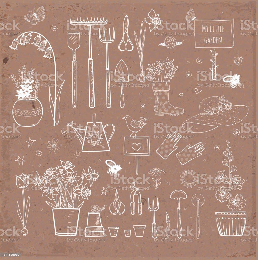 Big set of hand-drawn sketch garden elements vector art illustration