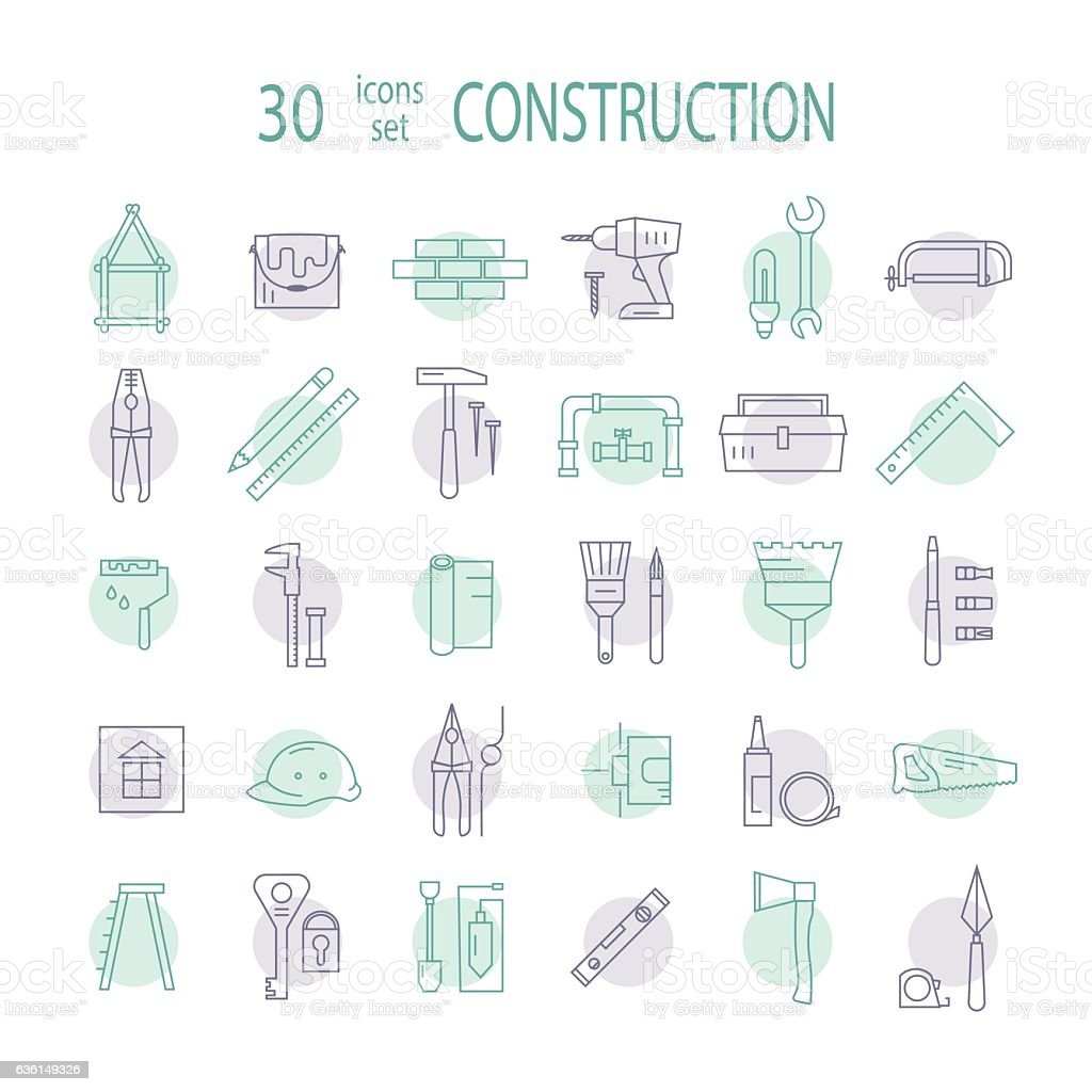 Big set of icons home repairs. vector art illustration