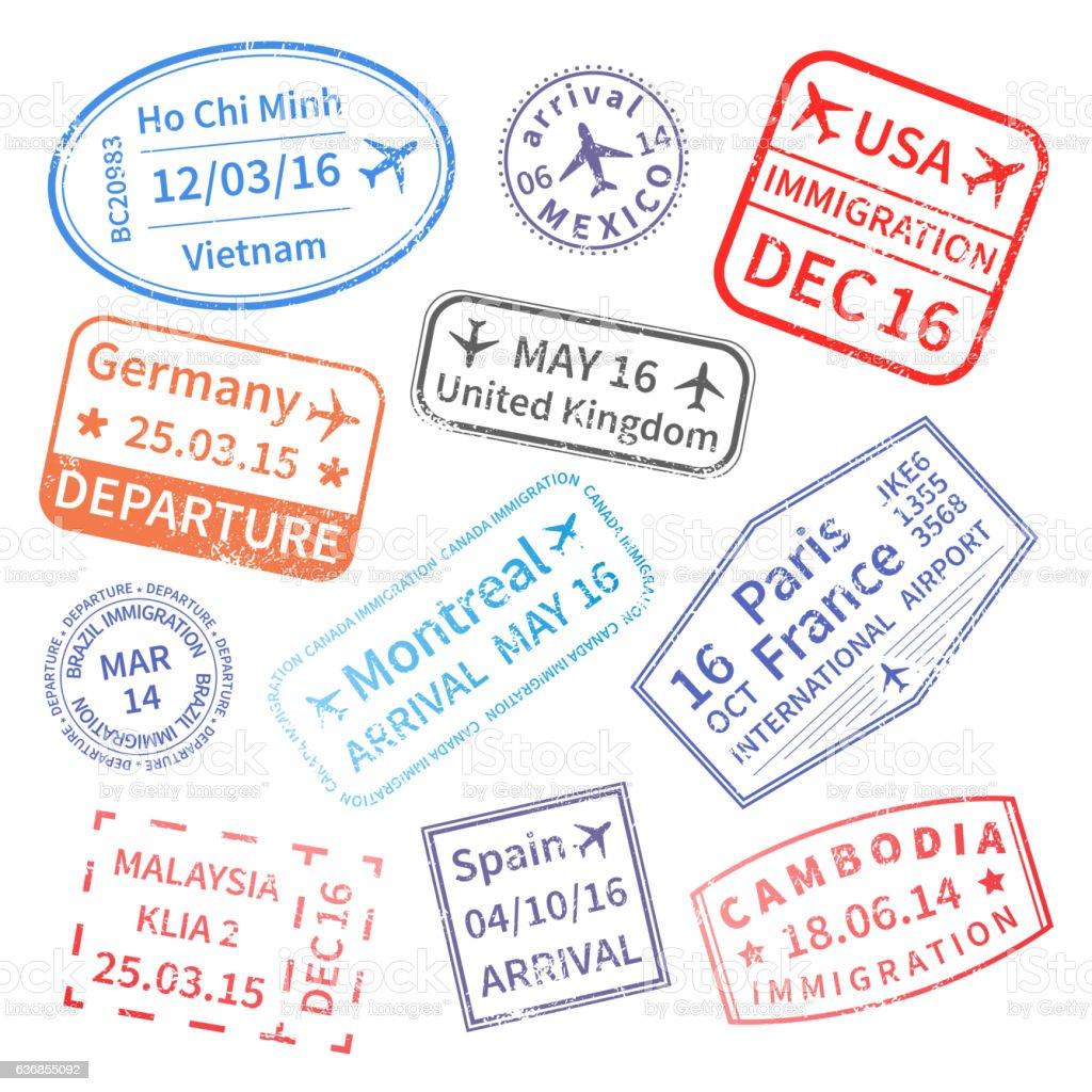 Big set of  International travel visa stamps vector art illustration